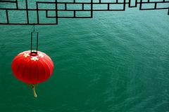 Red lantern on the river in China Royalty Free Stock Photo