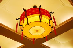 Red lantern in the room. A red lantern in the room stock photo