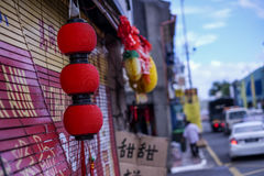 Red Lantern in town Stock Image