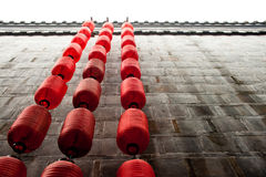Red lantern on the wall. Red lantern are hang on the wall of Jinli, Chengdu Stock Photos