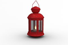 Red lantern on white background Stock Images