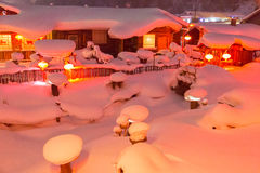 Red Lantern and white snow Stock Photos