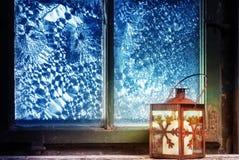 Red lantern in window Stock Image
