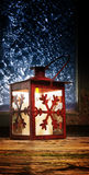 Red lantern in window Royalty Free Stock Image