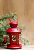 Red lantern on wooden table Stock Photography