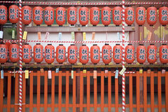 Red lanterns. In Kyoto temple, Japan Stock Images