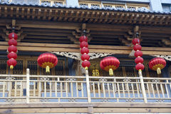 Red lanterns. Hang on the eaves to greet the Chinese New Year(Spring Festival Royalty Free Stock Image