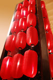 Red lanterns. Hanging on a shelf Stock Photos