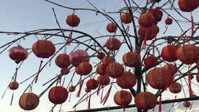 Red lanterns in the ancient town of Hoi An stock footage