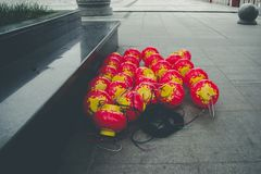 Red lanterns being readied for hanging stock image