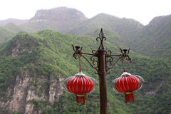 Red lanterns on the bracket Royalty Free Stock Photo