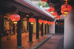 Buddhist temple. Red lanterns in a buddhist temple Stock Photos