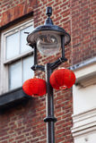 Red lanterns in China district, Chinatown, London,United Kingdom Stock Photos