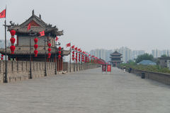 Red lanterns on City Wall Xian. China stock images