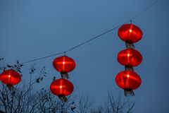 Red lanterns  floating  in the night sky Stock Image