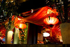 Red lanterns. Found inside restaurant royalty free stock photography