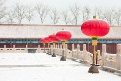 Red lanterns in front of the palace Stock Photography