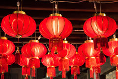 Red lanterns hang on ceiling during celebration Royalty Free Stock Photo