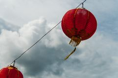 Red lanterns Hanging Decoration. Red Lanterns symbolizing Chinese New Year Royalty Free Stock Images