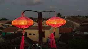Red lanterns in Hoi An ancient town stock video footage