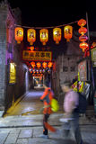 Red lanterns hung on the alley Royalty Free Stock Photos