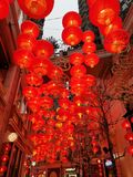 Red lanterns at Lee Tung Street for Chinese New Year. Decoration for Chinese New Year to attract visitors and tourists to the shopping mall stock images