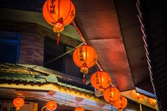 Jiufen. Red lanterns in the narrow alleys of the small town of Jiufen stock images