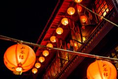 Jiufen. Red lanterns in the narrow alleys of the small town of Jiufen royalty free stock image