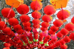 Red lanterns and other traditional chinese decorat Royalty Free Stock Photos