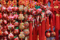 Red lanterns, red firecrackers, red pepper, red everyone, red Chinese knot, red packet...The Spring Festival is coming. Spring Festival ornaments shop full of royalty free stock photography