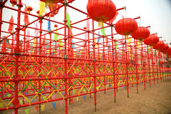 Red lanterns and red tubes Stock Images