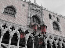 Red lanterns in San Marco. Red lanterns with Dukes Palace view in San Marco Square Royalty Free Stock Images