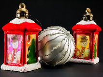 Red lanterns with snowman and children decoration and bright chr Stock Photography