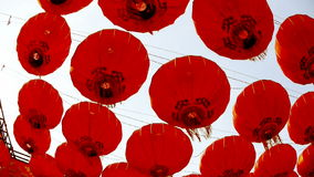Red lanterns tassel swaying in wind,elements of East,china new year. stock video