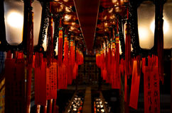 Red Lanterns in a Temple. Double line of Red Lanterns in a Temple Royalty Free Stock Image
