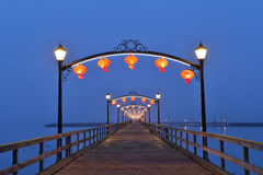 Red Lanterns on White Rock Pier for Chinese Moon Festival Stock Photography