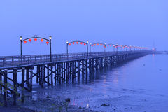 Red Lanterns on White Rock Pier for Chinese Moon Festival Stock Photos