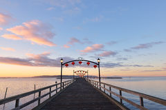 Red Lanterns on White Rock Pier for Chinese Moon Festival Stock Image