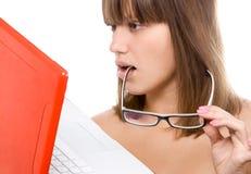 Red laptop Stock Image