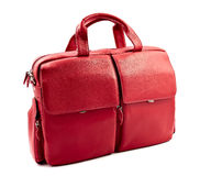 Red laptop bag. Isolated on white royalty free stock image