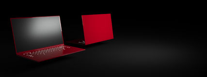 Red laptop on a black background. Two glossy, trendy ultrabook. Advertising image Stock Illustration