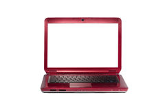 Red laptop isolated on white royalty free stock photography
