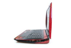 Red Laptop Side view. Royalty Free Stock Photo