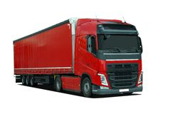 Red large truck with semi trailer Stock Photos