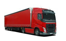 Red large truck with semi trailer Royalty Free Stock Photo