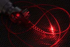 Red laser beam from fiber cable Stock Photography