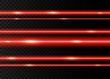 Red laser beams with  flashes of  light. Red laser beams with  flashes  isolated on black transparent  background. Vector glowing  neon lights  effect Royalty Free Stock Photo