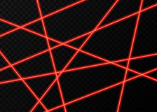 Red laser beams with  flashes of  lights  on black  background. Red laser beams with  flashes of  lights   on black transparent  background. Vector glowing Royalty Free Stock Photos