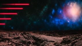 Red laser beams over outer space background. With galaxies and stars. Extraterrestrial alien planet. Copy space stock images