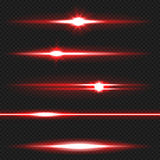 Red laser beams pack. Red horizontal lens flares pack. Laser beams, horizontal light rays. Vector, eps10 stock illustration